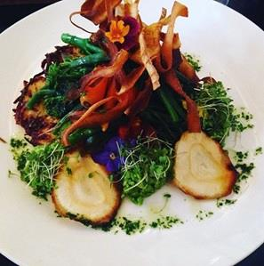 vegan potato rosti with vegetables